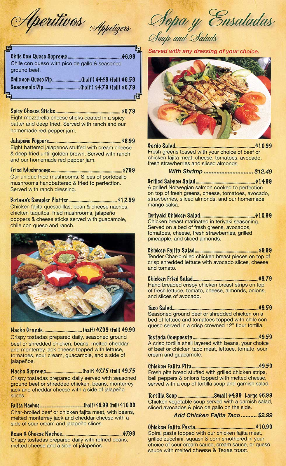 Menus The Plaza Restaurant Bar Delicious Mexican Dishes