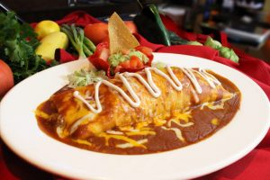 chicken or beef burrito with cheese