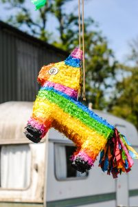 colorful pinata at a fiesta theme party